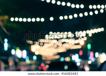 Bokeh blur dot night light background, colorful spot lighting - stock photo