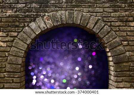bokeh light from dark brick tunnel - stock photo