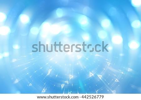 Bokeh light, shimmering blur spot lights on blue abstract backgr - stock photo