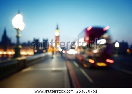 bokeh of Big Ben and Westminster Bridge, London - stock photo