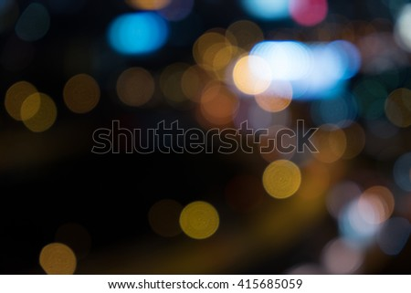 bokeh of cityscape and traffic - stock photo