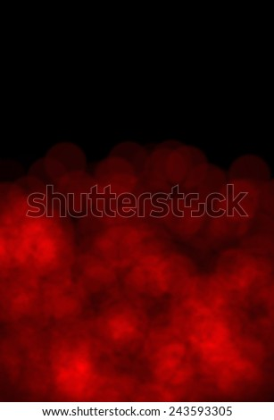 Bokeh of Fireworks Red Lights on black background with copy space - stock photo