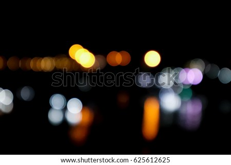 bokeh of light at night on black background
