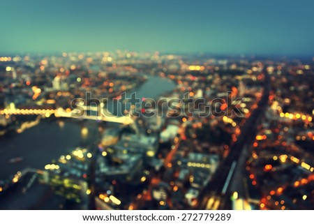 bokeh of London aerial view with Tower Bridge, UK - stock photo