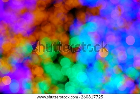 Bokeh of the color night light, blurred background.