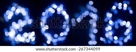 bokeh of the digits 2016 - stock photo