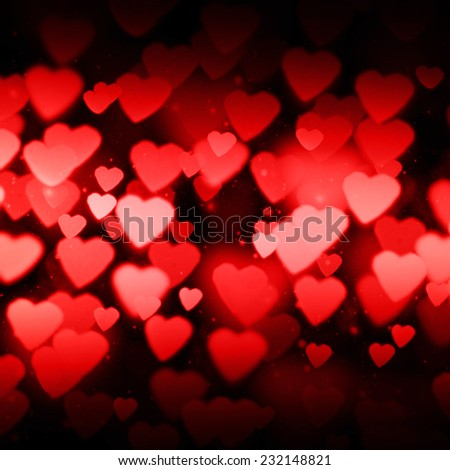 Bokeh on a dark background with hearts  - stock photo