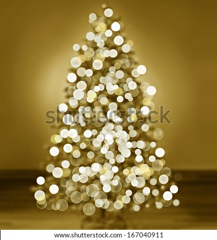 Bokeh silhouette of Christmas tree - stock photo