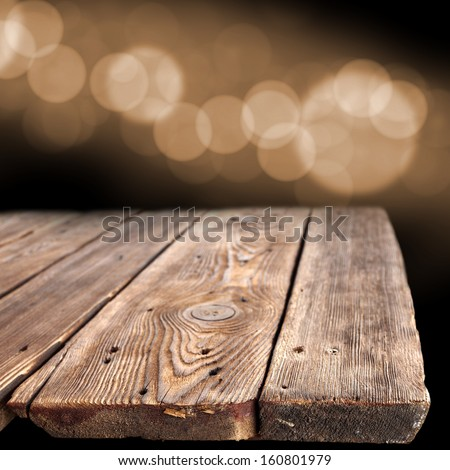 bokeh space and old wooden table of empty space  - stock photo