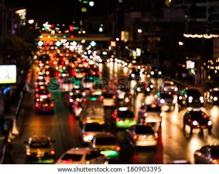 bokeh traffic city lights.  - stock photo