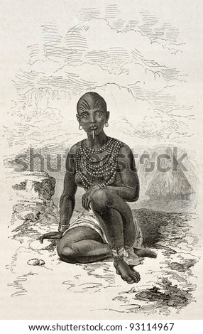 Bokke old engraved portrait (Moy's wife, chief of Latouka tribe). Created by Neuville, published on Le Tour du Monde, Paris, 1867 - stock photo