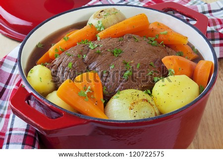 Bolar roast, or blade roast, pot roasted with potatoes, onions and carrots. A simple, satisfying meal. - stock photo