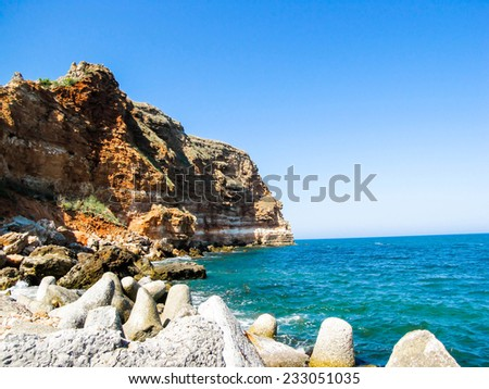 Bolata beach, rocks near cape Kaliakra, Bulgaria - stock photo