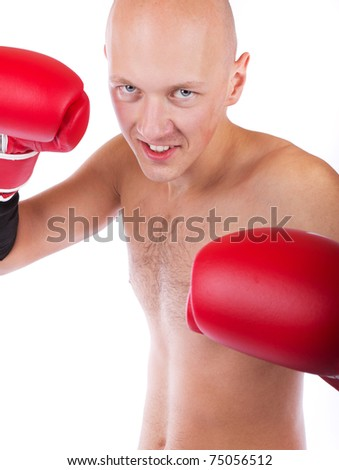 Bold boxer during fight