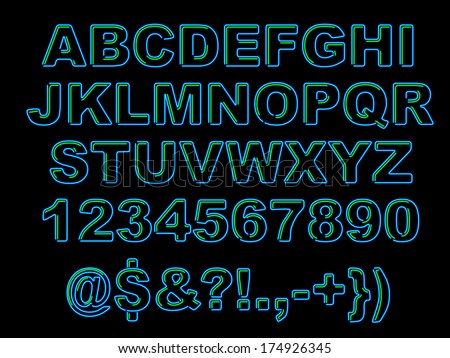 Bold Neon Alphabet - raster - stock photo