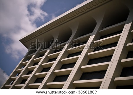 Bold 70s Architecture at Emory University Library - stock photo