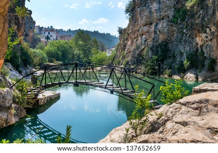 Boligate Village Waterfalls and River, near Ontinyent, Valencia Province, Spain - stock photo
