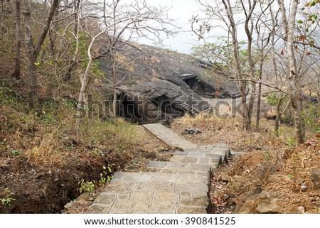 Bolivali cave temple in Mumbai - stock photo