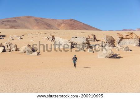 Bolivia, Antiplano, Los Lipez - tourist visiting desert and rock formations near Arbol de Piedra - stock photo