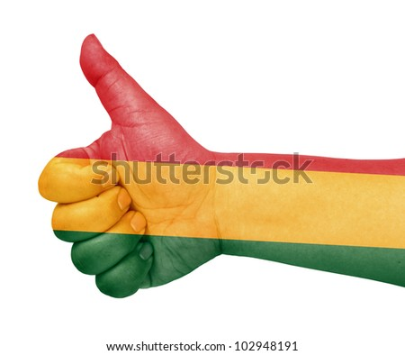 Bolivia flag on thumb up gesture like icon - stock photo