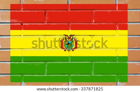 Bolivia flag painted on old brick wall texture background - stock photo