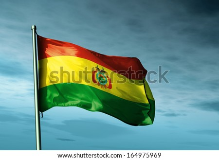 Bolivia flag waving on the wind - stock photo