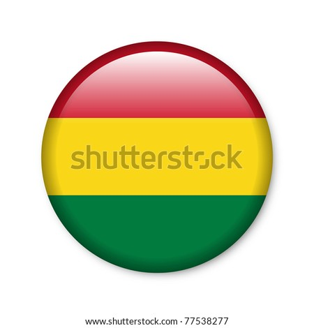Bolivia - glossy button with flag - stock photo