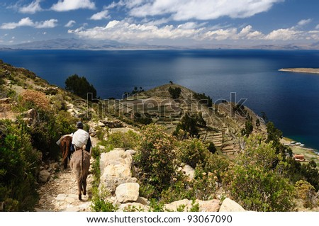 Bolivia - Isla del Sol on the Titicaca lake, the largest highaltitude lake in the world (3808m) This island's legendary Inca creation site and the birthplace of the sun. Landscape of the Titicaca lake - stock photo