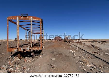 Bolivia, old abandoned railway - stock photo
