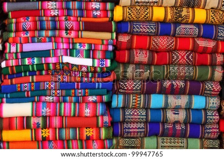 Bolivian (Andes region) traditional fabrics - stock photo