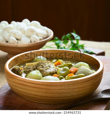 Bolivian traditional soup Chairo de Tunta (tunta is a freeze-dried potato) made of tunta, beef, broad bean, pea, carrot, photographed with natural light (Selective Focus, Focus in middle of soup)     - stock photo