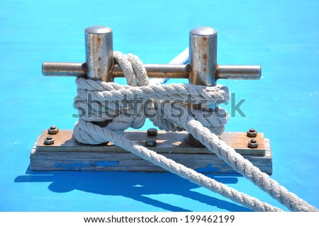 bollard on the deck of yacht - stock photo