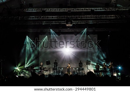 """Bollate (Italy) 24/07/2013: Concert of musician and singer Woodkid the """"Festival of VIlla Arconati"""" - stock photo"""