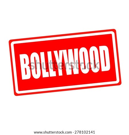 Bollywood white stamp text on red backgroud - stock photo
