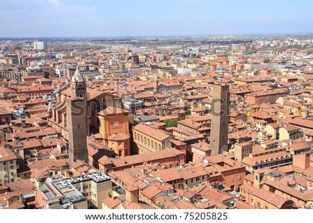 Bologna, aerial bird eye view from Asinelli Tower, Italy.