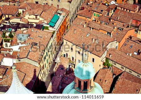 Bologna city view from Asinelli tower, Italy - stock photo