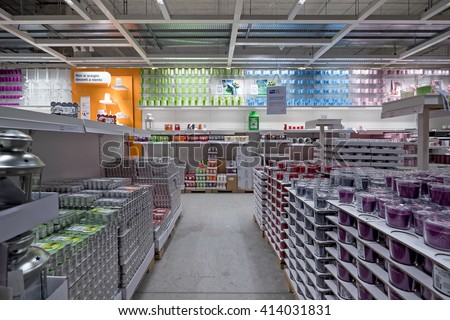 BOLOGNA, ITALY - APRIL 23, 2016: Interior view inside IKEA store. IKEA is the world's largest furniture retailer. Video d'archivio