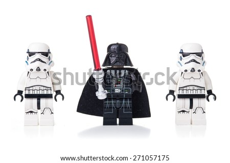 BOLOGNA, ITALY - APRIL 18, 2015: Star Wars Lego Darth Vader and Stormtroopers from movie series. Lego is a popular line of construction toys popular with kids and collectors worldwide. - stock photo