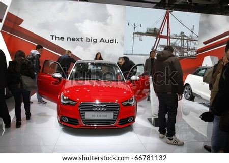 BOLOGNA ITALY-DEC 4: Bologna Motor Show audi a1 red on December 04, 2010 in Bologna Italy - stock photo