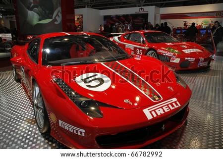BOLOGNA ITALY-DEC 4: Bologna Motor Show Ferrari racer. on December 04, 2010 in Bologna Italy - stock photo