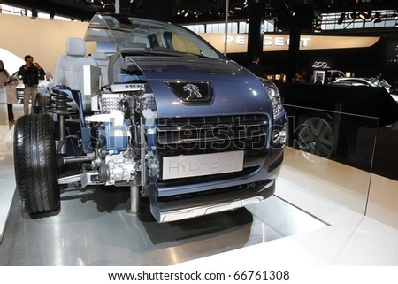 BOLOGNA - ITALY-DEC 4: Bologna Motor Show peugeot hybrid engine on December 04, 2010 in Bologna Italy - stock photo