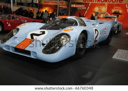 BOLOGNA ITALY-DEC 4: Bologna Motor Show, Porsche racing on December 04, 2010 in Bologna Italy - stock photo