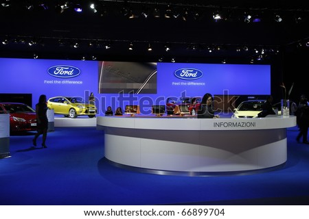 BOLOGNA ITALY-DEC 4:: Bologna Motor Show stand ford. on December 04, 2010 in Bologna Italy - stock photo