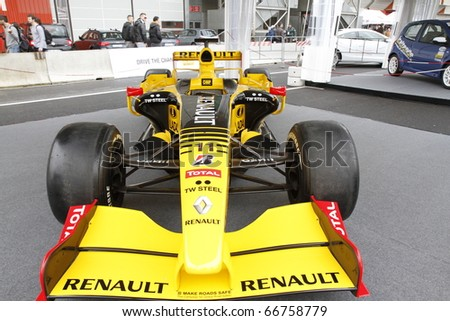 BOLOGNA ITALY-DEC 4: Bologna Motor Show stand renault racing on December 04, 2010 in Bologna Italy - stock photo