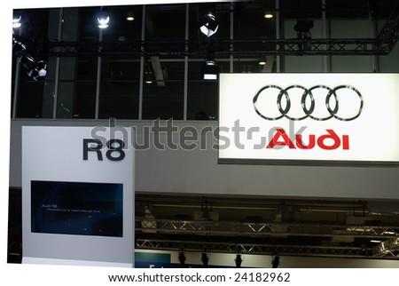 BOLOGNA,ITALY - 6 DECEMBER 2008: Audi r8 car logo, motor show ,Bologna