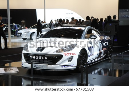 BOLOGNA ITALY-December 4: Bologna Motor Show peugeot racing. on December 04, 2010 in Bologna Italy