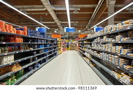 BOLOGNA, ITALY - FEBRUARY 4: Coop Supermarket, February 4, 2012 in Bologna, Italy. Coop is the main actor on the Italian market by supermarket chains, in 2010 market share reached 12.898 billion euros - stock photo