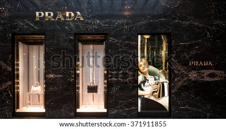 BOLOGNA, ITALY - JANUARY 29, 2016: Prada store inside Luxury shopping center in the heart of the city, called Galleria Cavour.  - stock photo