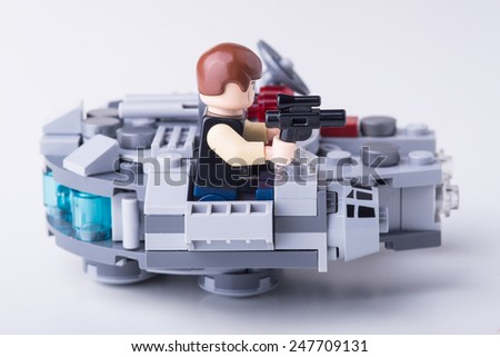 BOLOGNA, ITALY - JANUARY 13, 2015: Studio shot of a Luke skywalker Lego minifigure from Star Wars movie series. Lego is a popular line of construction toys popular with kids and collectors worldwide. - stock photo
