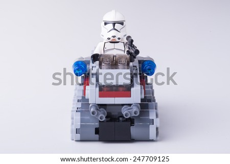BOLOGNA, ITALY - JANUARY 13, 2015: Studio shot of a Stormtrooper Lego minifigure from Star Wars movie series. Lego is a popular line of construction toys popular with kids and collectors worldwide. - stock photo